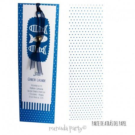 Rec. peces estampado en azul (paquete de 10 recordatorios)