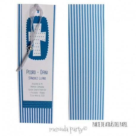 Rec. cruz estampado en azul (paquete de 10 recordatorios)