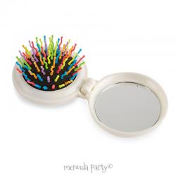 Estuche redondo cepillo colores y espejo