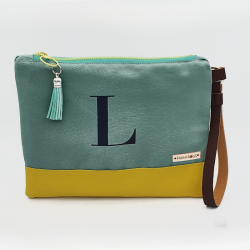 Bolsa tipo clutch letra L -turquesa/amarillo-