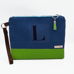 Bolsa tipo clutch letra L -azul/verde manzana-