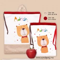Bolsa para la ropa y bolsita para la merienda mascota -oso-