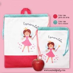 Bolsa para la ropa y bolsita para la merienda hada rosa