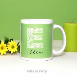 Taza letra decorada verde